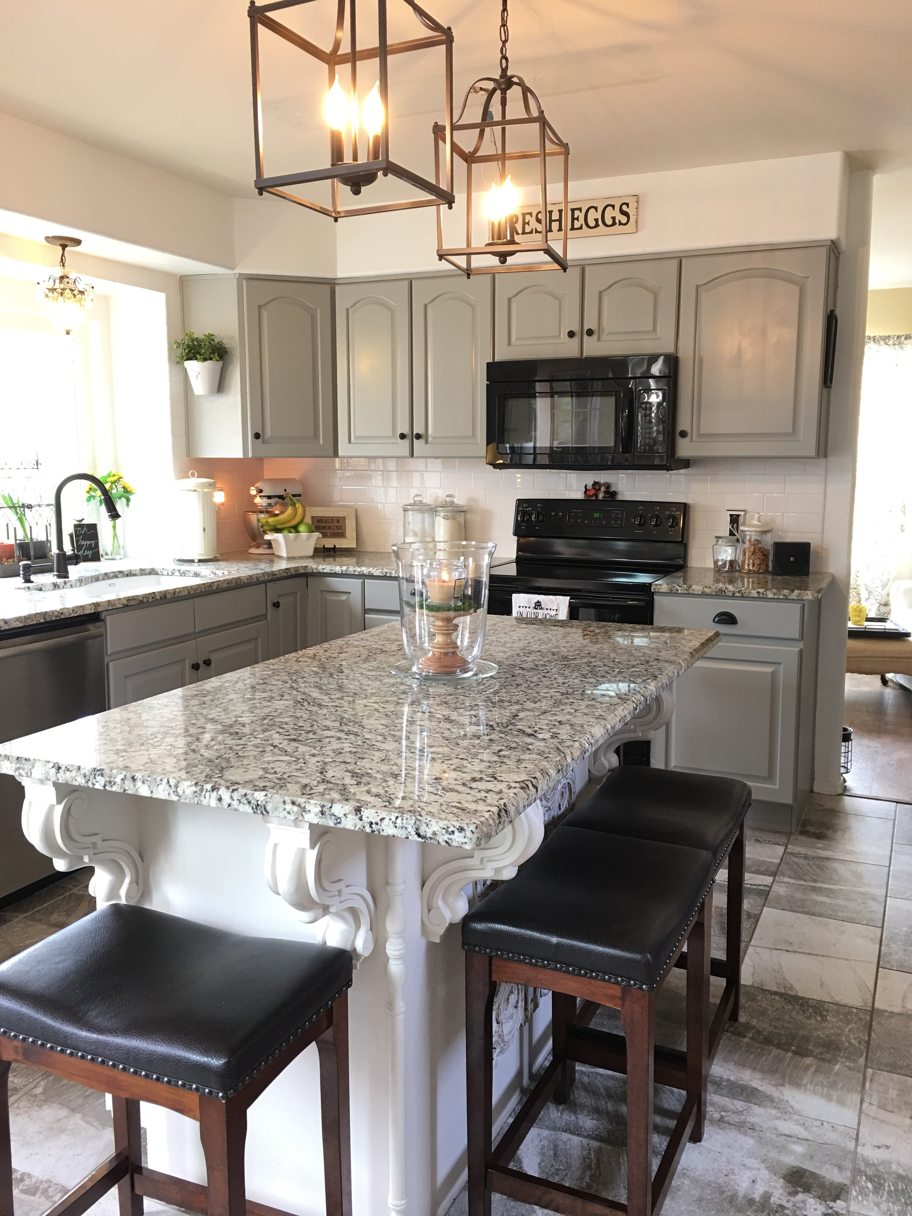 Sneak Peak! We are almost finished resurfacing all the kitchen cabinets. (More photos to follow.) Now Iu0027m thinking our current bar stools donu0027t quite work ... & Sneak Peak of Our Kitchen Renovation u2013 Carriage House Staging ...